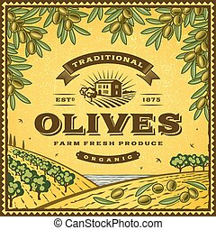 Vintage olives label