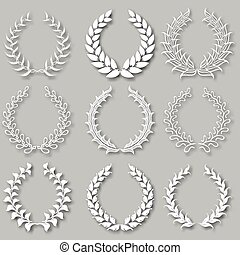 Set of vector laurel wreaths - Set of vector white laurel...