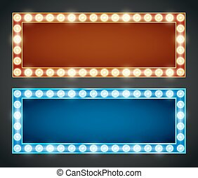 Frame lamp - Blue red gold colored vector retro looks frames...