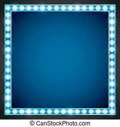 Frame lamp - Blue gold colored vector retro looks frame...