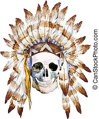 Native skull - Beautiful image with nice watercolor native...