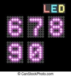 digits - vector set of led illuminated digits. illustration...
