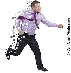Running businessman in a hurry on white background - Running...