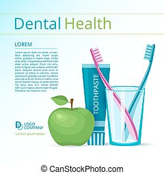 Dental health vector flyer or poster template. Toothbrushes...