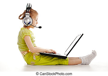girlie in headphones with laptop isolated on white...