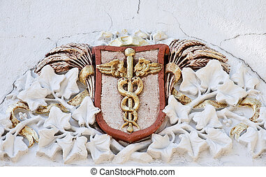 Medical caduceus sign - Vintage medical caduceus sign on...