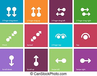 Collection of touch screen gesture icons on color background...