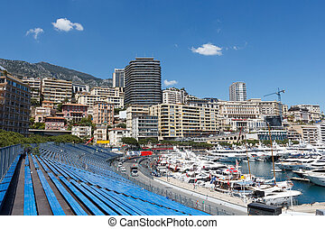 Monaco. Empty tribunes before the Monaco GP - Monaco. Empty...