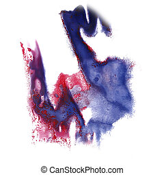 abstract blue, pink hand drawn watercolor blot insult...