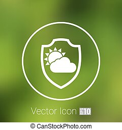 rainy weather icon with clouds and umbrella vector. - rainy...