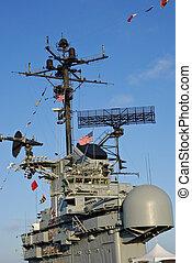 USS Hornet - Radar and bridge of USS Hornet aircraft carrier...