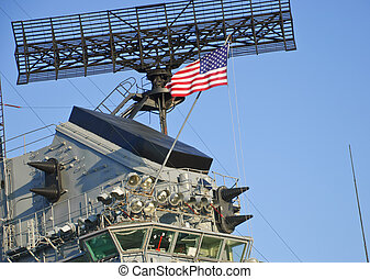 USS Hornet - Radar and bridge of USS Hornet aircraft carrier...