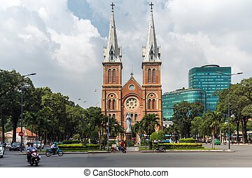 Saigon French cathedral - French colony cathedral notre dame...