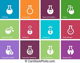 Chemical bulb icons on color background