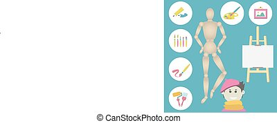 icons set of colorful art supplies for painting - vector...
