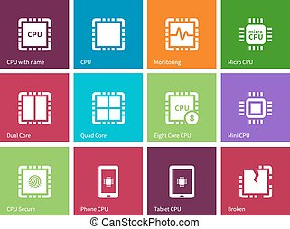Processor Computer hardware icons on color background