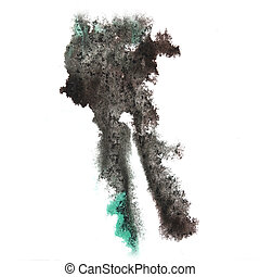 abstract gray hand drawn watercolor blot insult Rorschach...