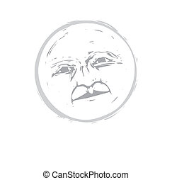 Moon Face 1 - Isolated moon face illustrated in a woodcut...