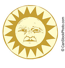 Sun Face #1 - Isolated Sun face illustrated in a woodcut...