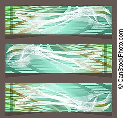 Set, collection of three, blue, green, modern banners with pattern - simple shapes