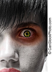 Scared young man - Astonished young man, gothic zombie look,...