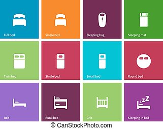 Full and single bed icons on color background.