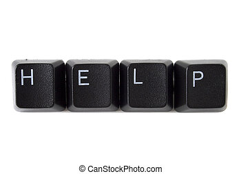 Help Spelled on Keyboard Black - The word help spelled out...