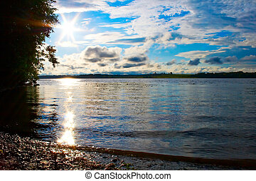 river Volga - evening landscape on river Volga