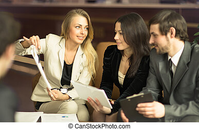 business people - Image of business people listening and...