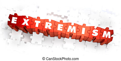 Extremism - Word on Red Puzzles. 3D Render.