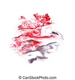 stain with red, gray watercolour paint stroke watercolor...