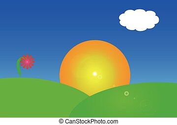 Vector drawing of a sunrise over a hillside against a blue...