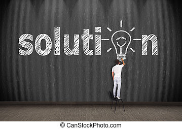solution - businessman standing on chair and drawing...