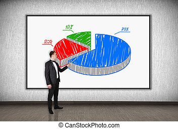 pie chart - businessman with a pointer points to a pie chart