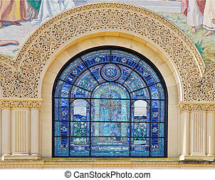 Details of stone carving and stained glass window - Stanford...