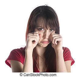 Woman in Crying Gesture with Hands on her Face - Close up...