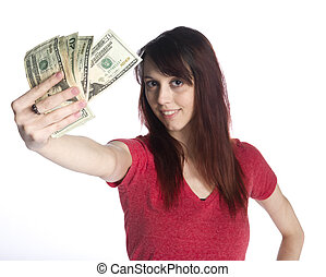 Smiling Woman Holding a Fan of 20 US Dollar Bills - Close up...