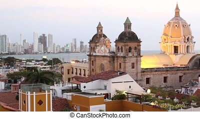 Cartagena, Colombia skyline. Historic city center,...
