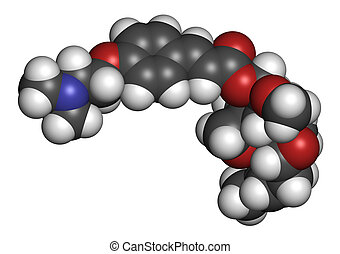 Beloranib obesity drug molecule. Atoms are represented as...