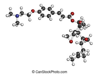 Beloranib obesity drug molecule Atoms are represented as...
