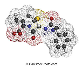 Cefalexin antibiotic drug molecule (cephalosporin, first...