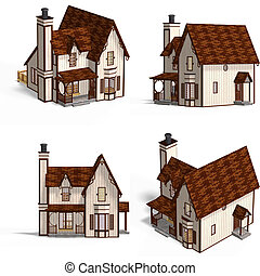 Medieval Houses Cottage - Four Views of an old fashioned...