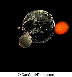 Solar System - Moon Earth Sun