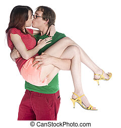Man Carrying her Girlfriend While Kissing
