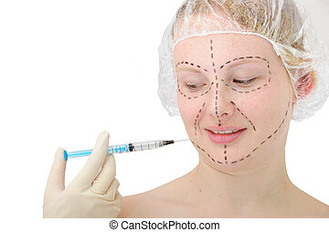 woman before plastic surgery, botox injection