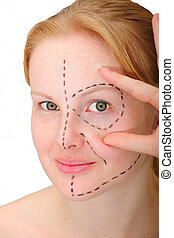 womanAcirc;acute;s face before plastic surgery, face lift -...