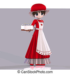 cute little girl presenting a gift - little girl in manga...