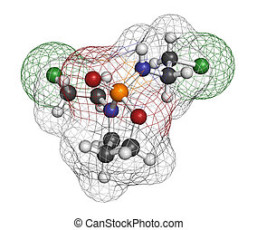Ifosfamide cancer chemotherapy drug molecule. Atoms are...