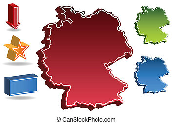 Germany country map isolated on a white background.