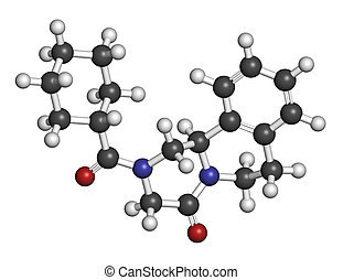 Praziquantel, anthelmintic, drogue, molecule., utilisé, à,...